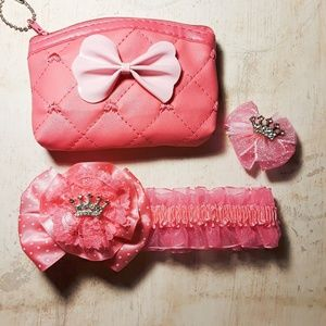 Other - Girl's Hot Pink Headband Barrette Coin Purse Gift